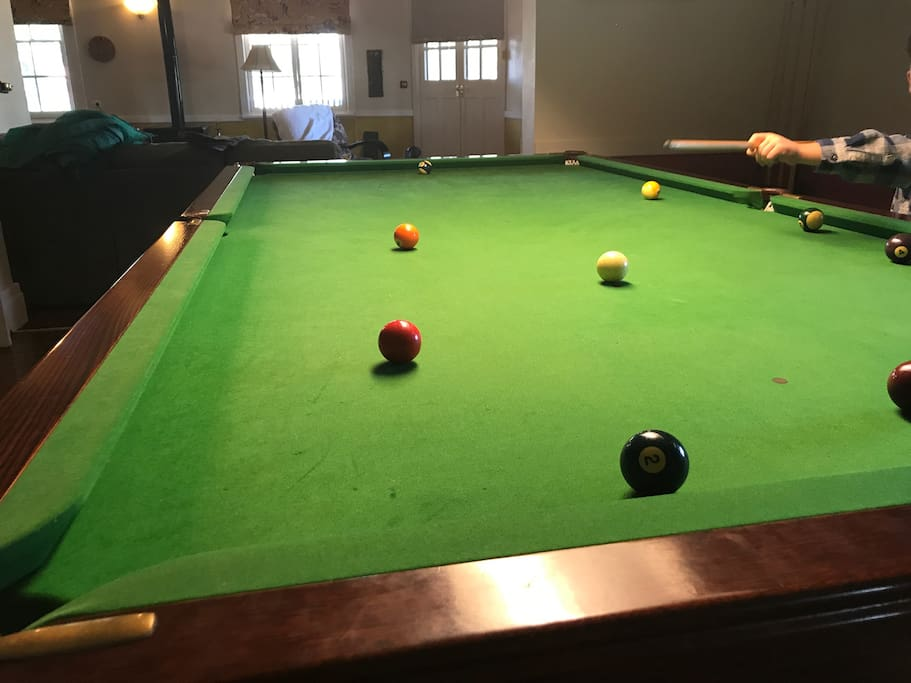 Billiard table in lounge area