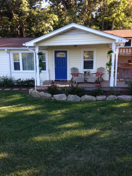 Front porch and main entrance with meadow view