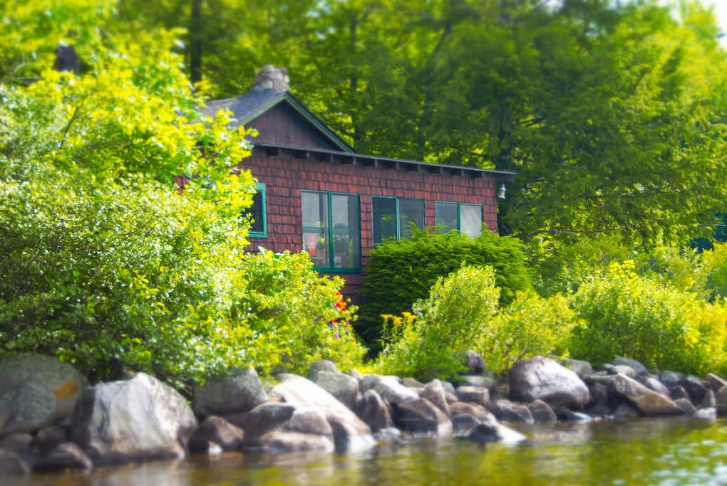 The cottage from the water front. As you can see it is directly on the water! One of it's many amazing features!
