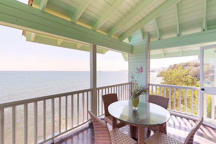 Romantic seaside villa w/ veranda, incredible views & beach access!