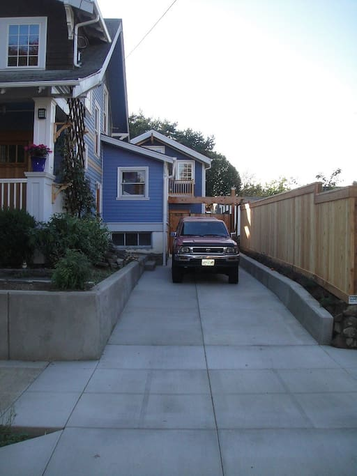 Access to the private and secure back yard and studio.