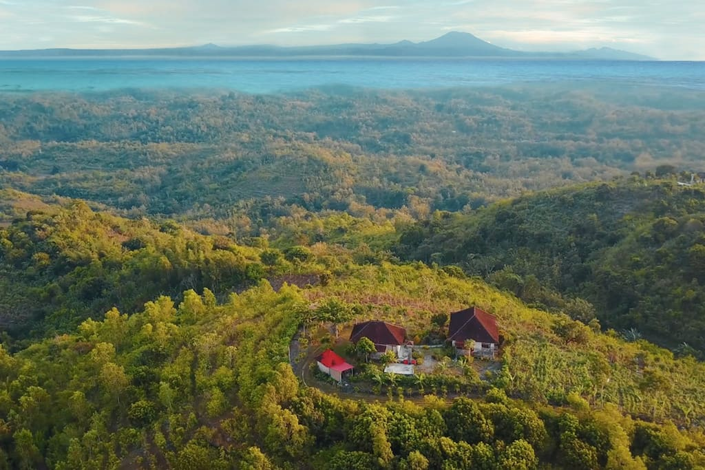 Aerial image showing the property in the foreground and the Balinese Mainland in the background