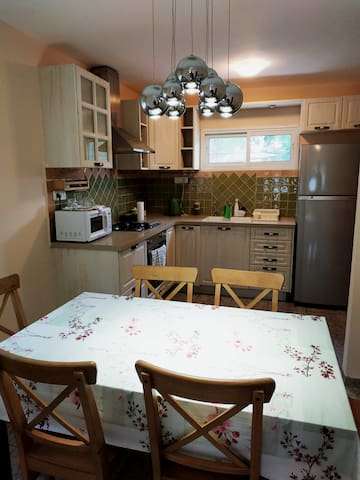 Kitchen with stove, oven, microwave, refrigerator, water boiler, dishes to cook and dining table with chairs.