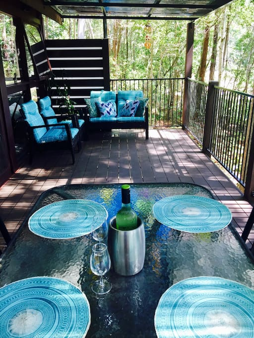 Enjoy al fresco meals and drinks with forest views.