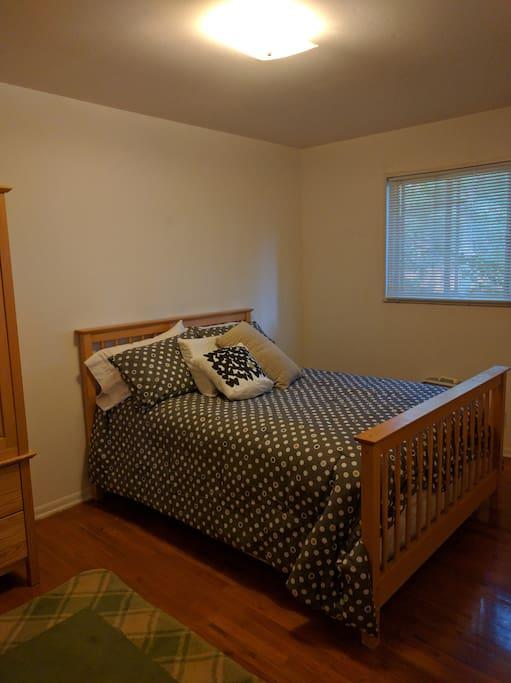 Guest bedroom; quiet backyard.