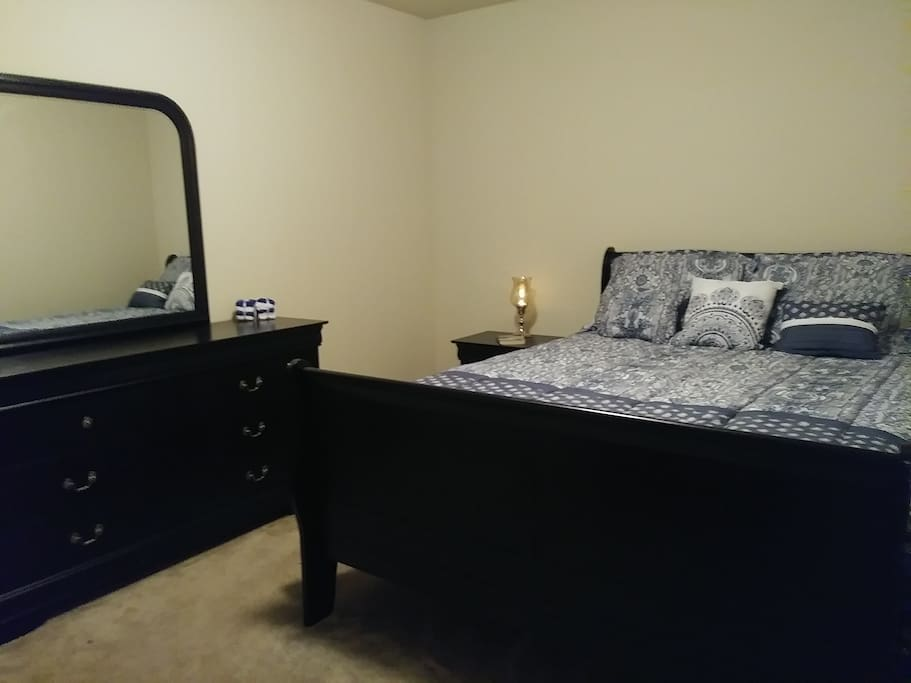 Come & enjoy relaxing in our Queen size bed where you will sleep well on comfortable pillow as you stay cozy snug in bed.