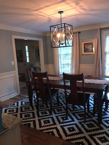 Newly renovated dining room opens up into the kitchen.  Perfect for groups and entertaining.