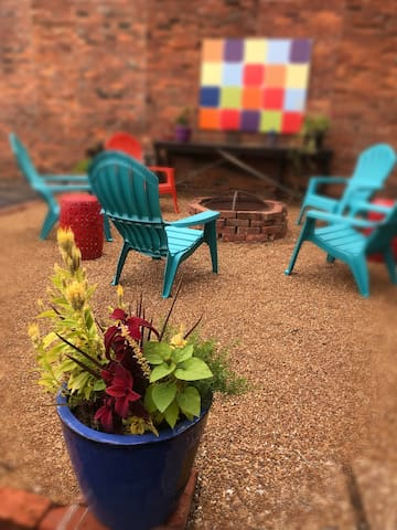 Relax in a cheerful garden space.