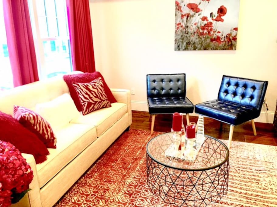 All decor and furniture is BRAND new.  Living room contains two sofa beds which have Posturepedic mattresses for a super peaceful and relaxing sleep.