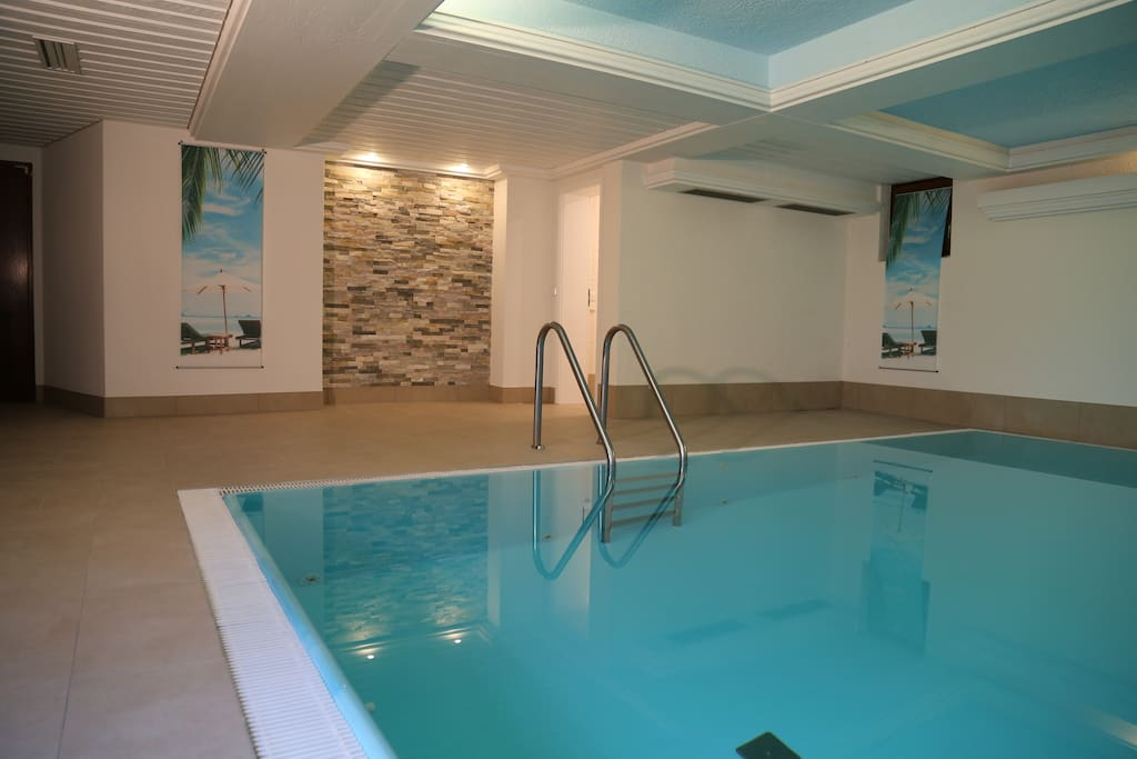 Yellow Spa with small heated indoor pool.