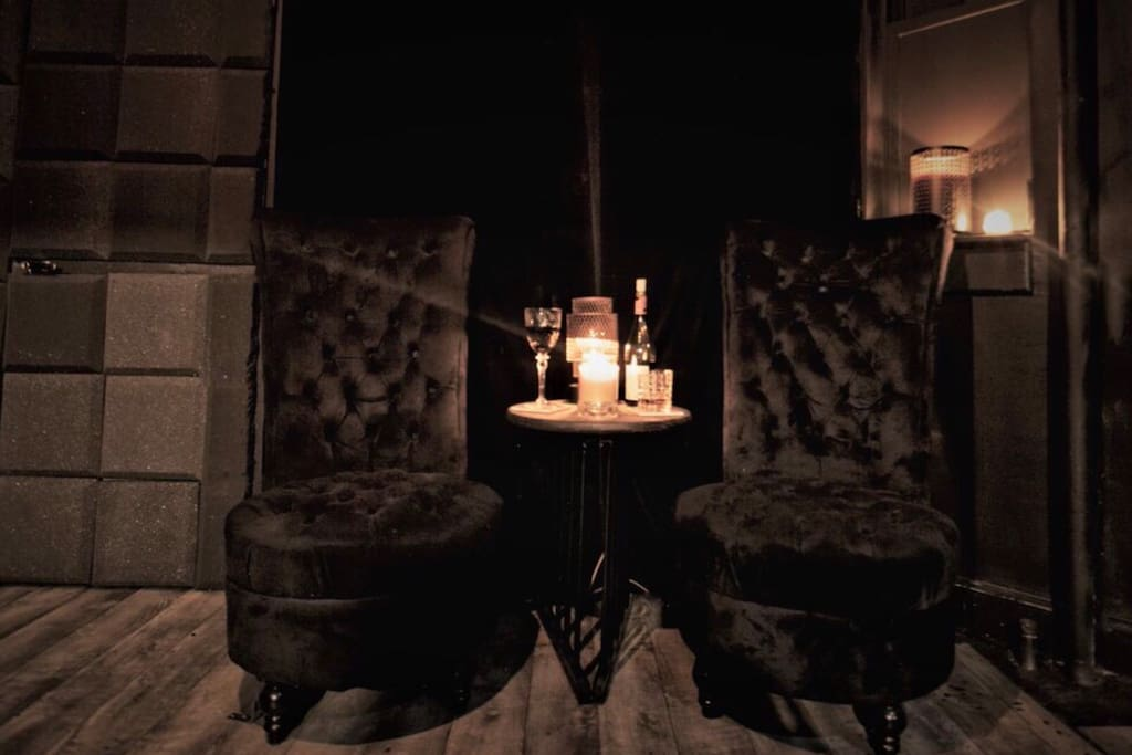 Relaxation Area- Relax on these beautiful suede Victorian  chairs.