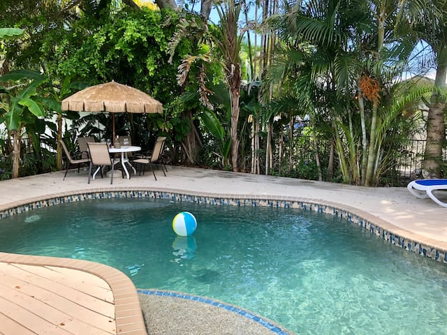 Unwind in our lush tropical backyard with heated large Salt Water Pool!