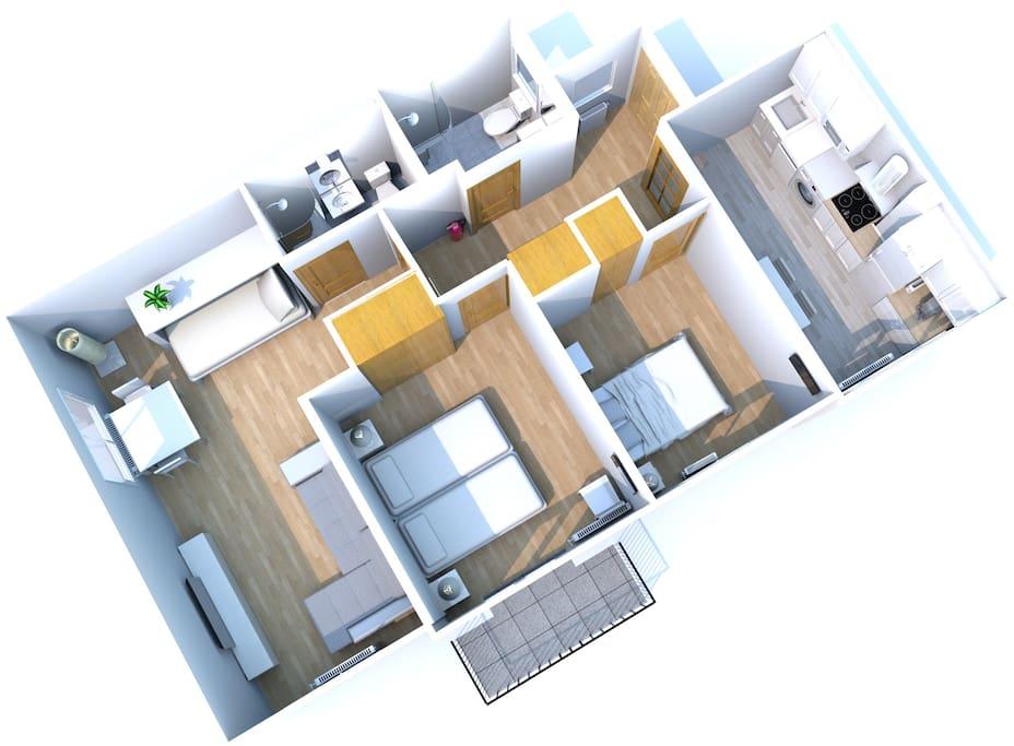 70m2, 4 camas, 2 baños completos y cocina.