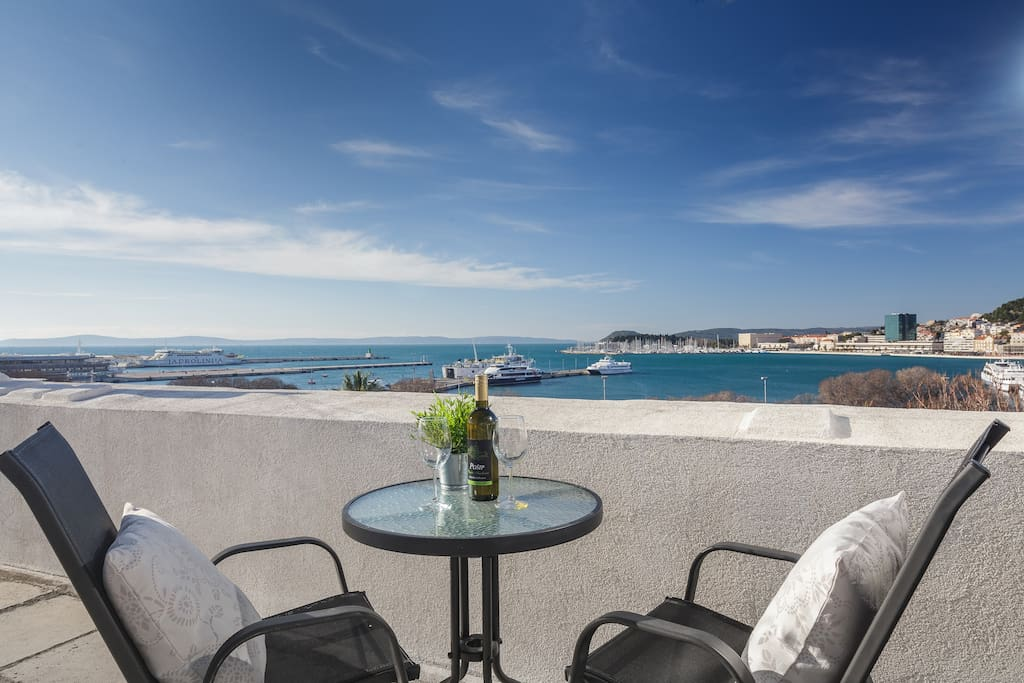Terrace with a great view at the harbor and city centre (located one floor above).