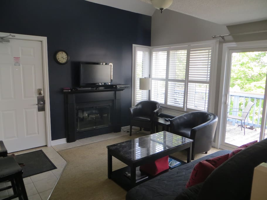 Living room includes flat screen television with free Rogers cable. Sofa pulls out into a double bed.