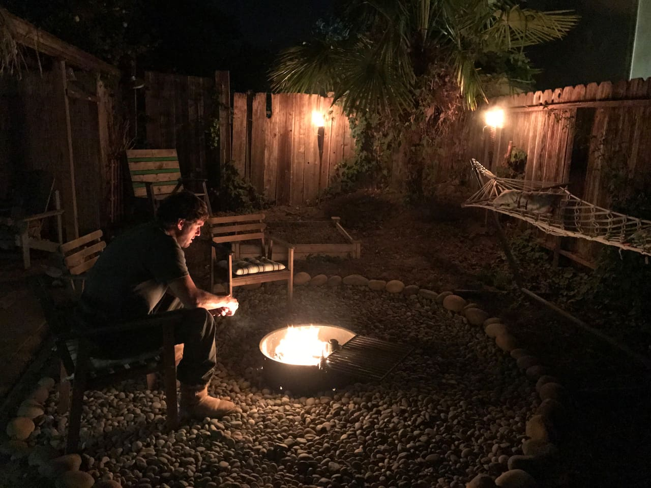 Best thing to do before bed is relaxing by the fire in the backyard.