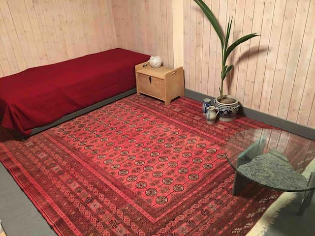 ausziehbares bett. nutzbar als doppel bett, einzelbett oder zwei getrennte einzelbetten. raum ist frisch renoviert!