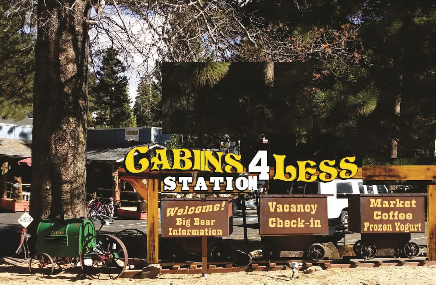 At the Cabins 4 Less Station which is the check in Office, Is a market with .50 cents ice, hot food and Beer/Wine to stay and to go