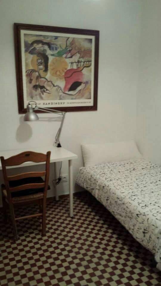 Habitación individual con ventana al corredor compuesta por cama de  0,90 cm x 1,90 cm, armario y mesa de estudio.