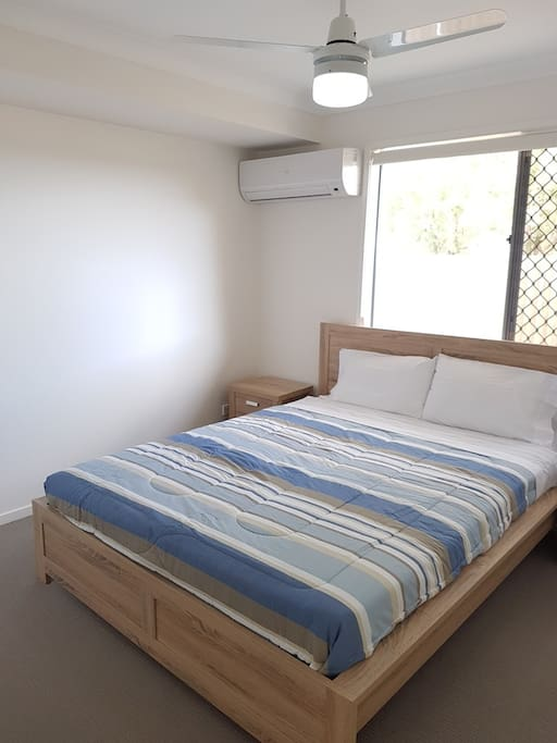 Lovely new bed, with birds out your window