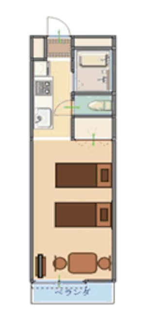 Twin-type Unit Layout (comes with 2 single size beds , and 1 dinning set)
