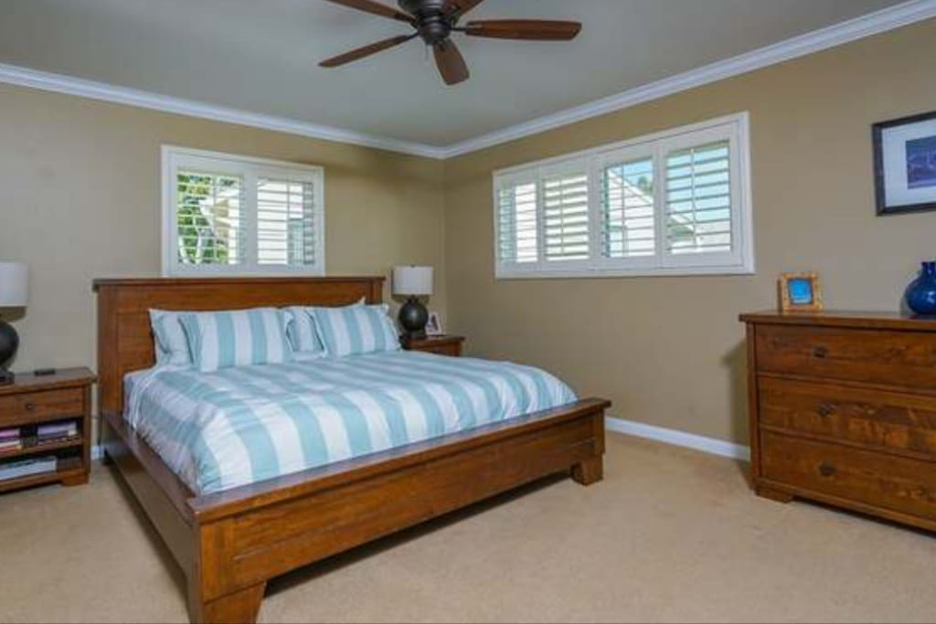 The spacious master bedroom contains a king size bed, a large dresser, plenty of closet space, and a tv with cable.