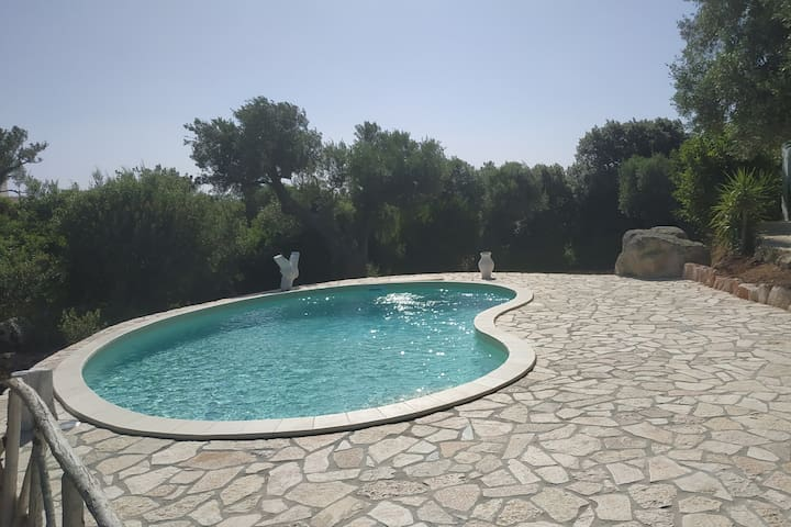 "Trullo ""AMAR"" pool in the Mediterranean scrub"