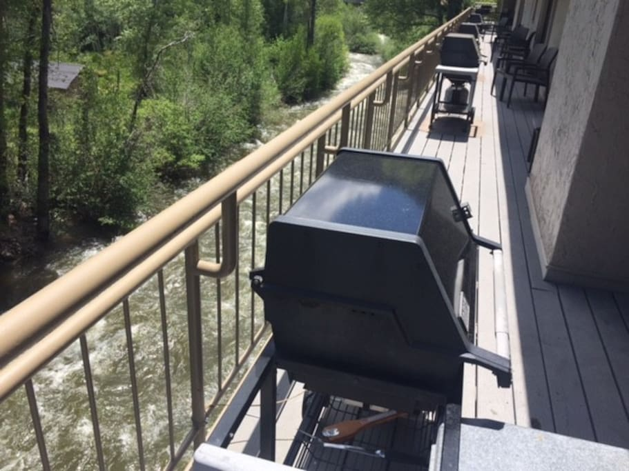 BBq deck over the river nest to the dining room