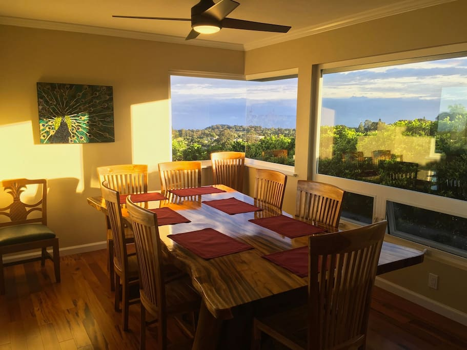 The new dining room opens up to upcountry views with it's corner window.