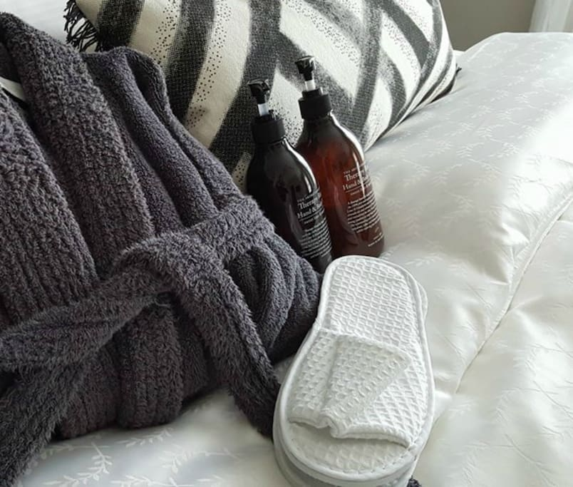 luxury robes, slippers and creams