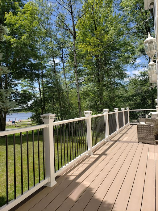 Brand new front deck with views of the lake