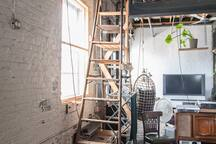 This is the ladder you'll have to climb to access the treehouse-style bedroom.