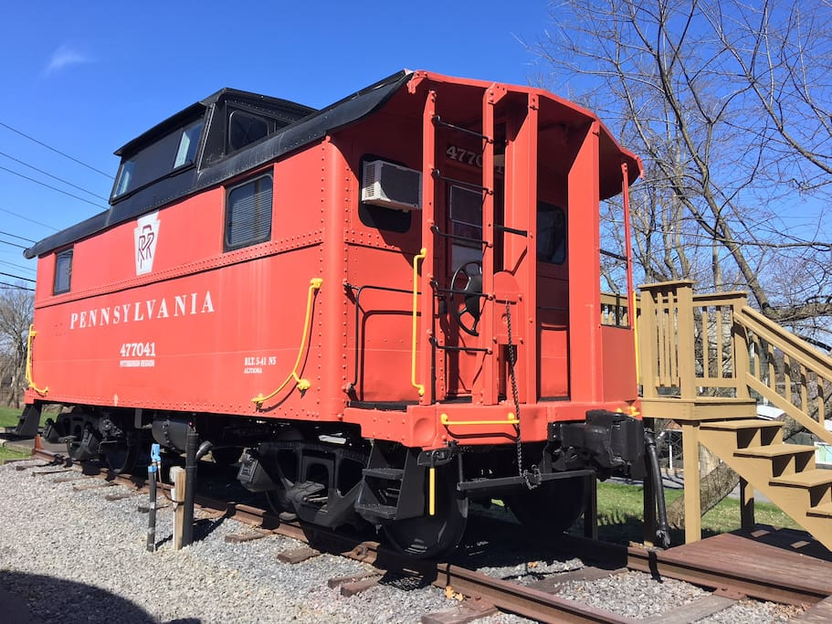 Beautiful view of the historic caboose!