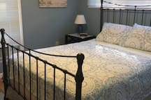 Queen bed with linens included
