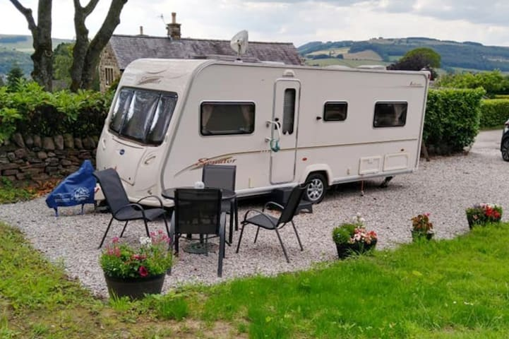 A cosy caravan  in the Peak District National Park
