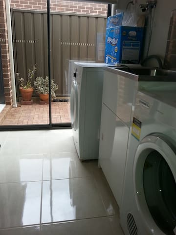 Laundry : a washing machine and dryer