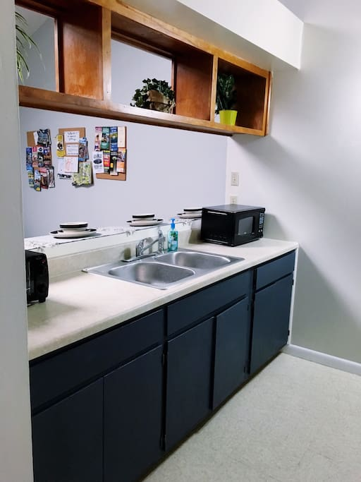 Our full size kitchen has all the appliances you need for a comfortable stay--microwave, toaster oven, coffeemaker, blender, etc.