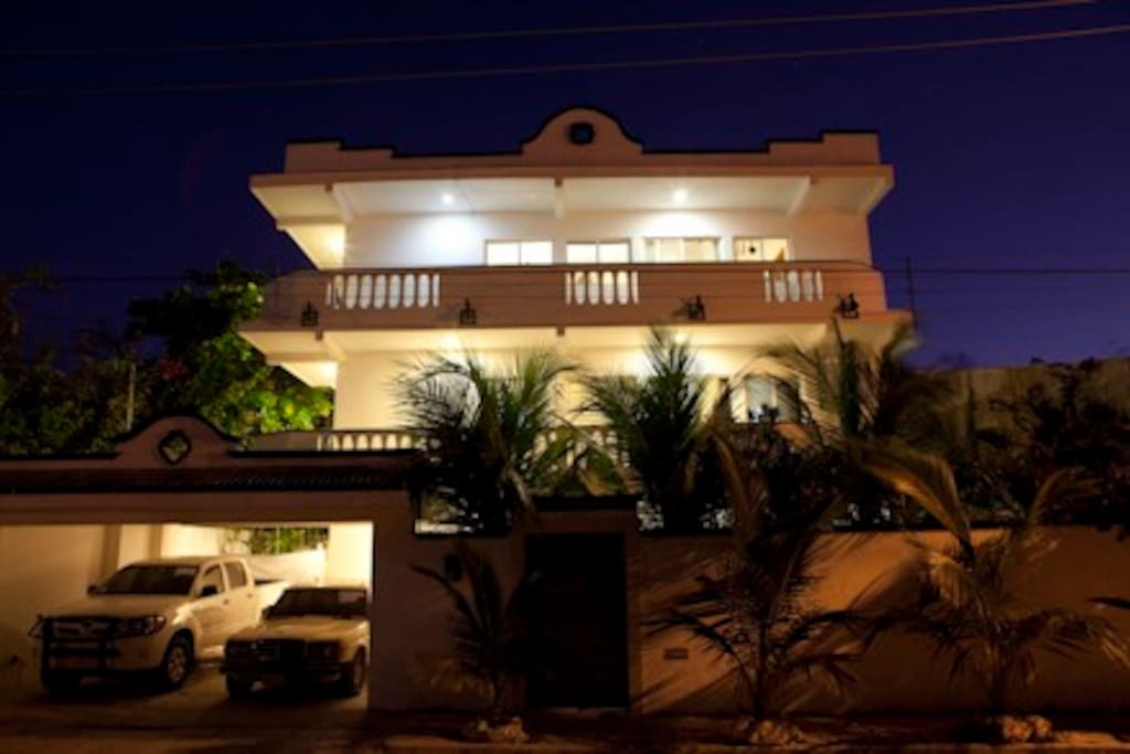If you arrive at night there is a garage with a light next to the door, a palapa roof now covers the top of the garage, visible at the corner of Lazaro Cardenas Street and Ninos Heroes.