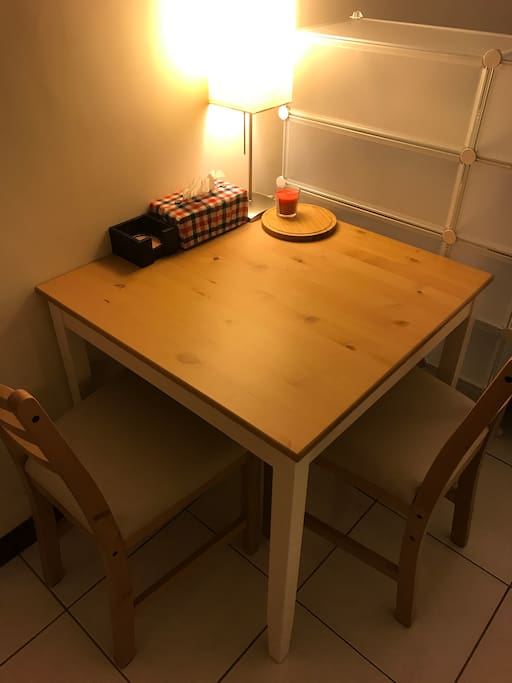 A table for dining or laptop