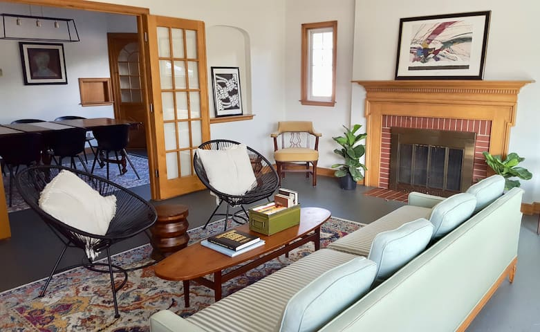 The large living room has french doors that open to the dining room.