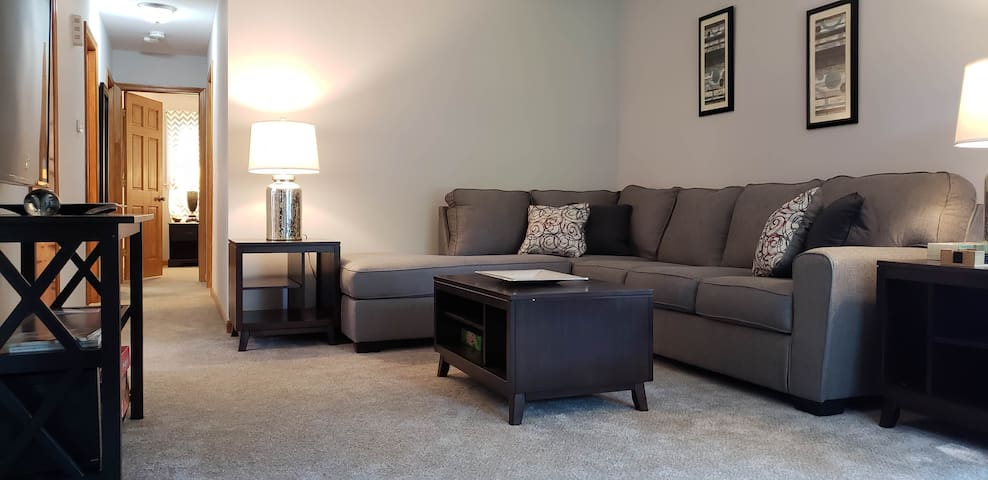 Large Sectional and Smart 4k TV in Living Space