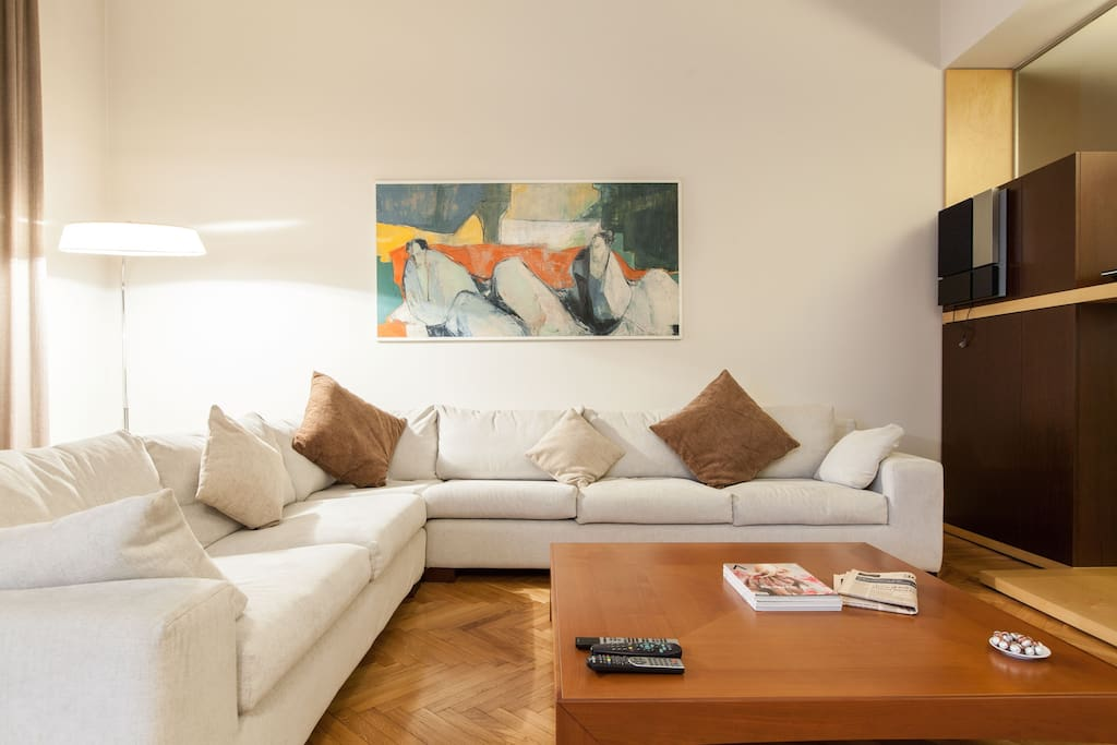 Living room with comfortable largge designer couch