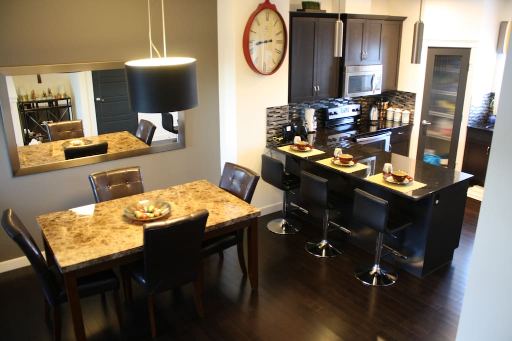 The dinning area and Kitchen during your stay