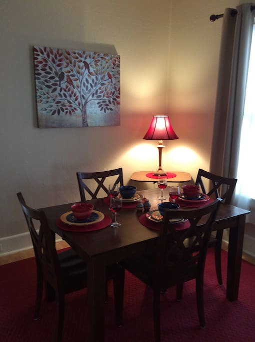 Enjoy a meal and a glass of wine, in our dining room