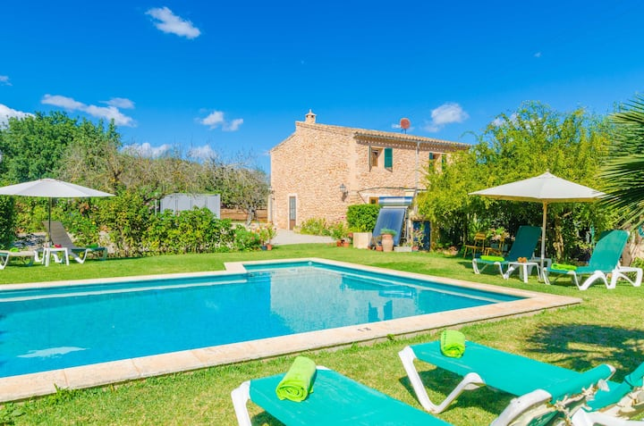 SA MATA - Spectacular Majorcan finca with private pool enclosed by the trees and greenery around.
