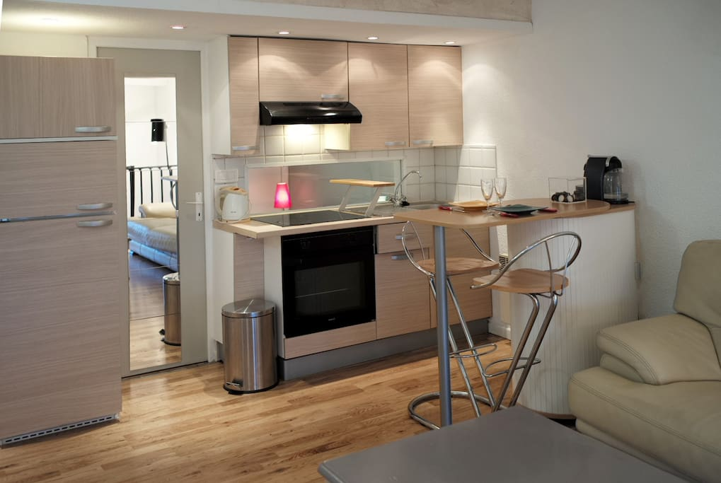 Séjour cuisine équipée avec plaques chauffantes, four, frigo, congélateur
