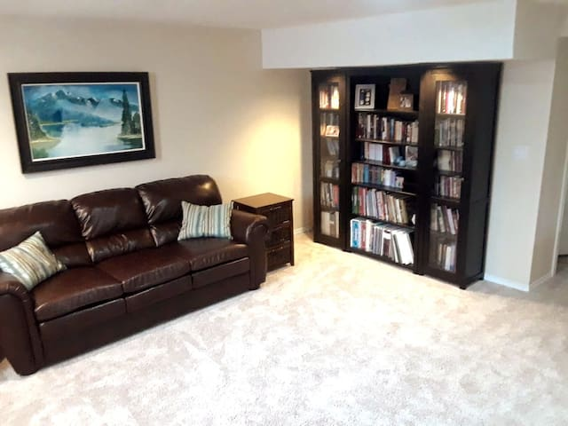 Another view of the large living space.  Check out our collection of local hiking, biking and rock climbing guides, along with classics for the young and old.