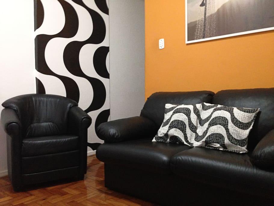 "Sala com sofá cama, poltrona, Tv de 40"", Tv a cabo e wifi"