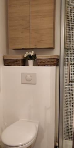 WC et placard de rangement