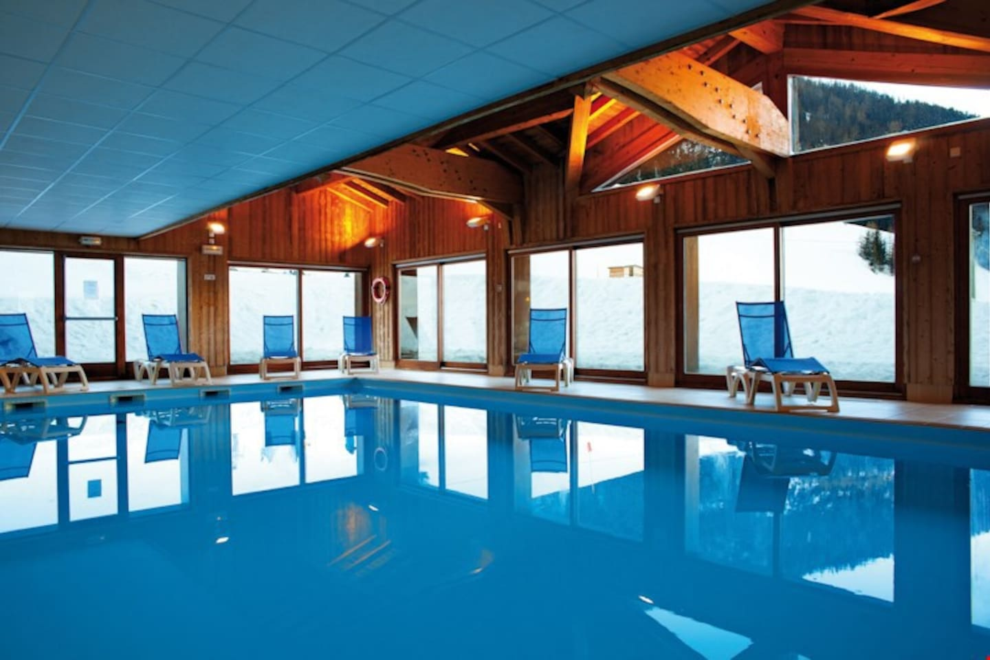 Dive into the lovely indoor pool after a great day outside.